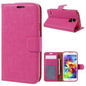Clothy Pu kožené pouzdro na Samsung Galaxy S5 - rose - 1