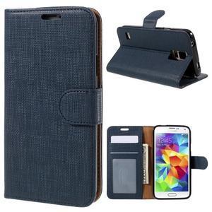 Clothy Pu kožené pouzdro na Samsung Galaxy S5 - tmavěmodré - 1