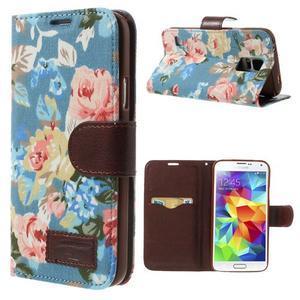 Květinové pouzdro na mobil Samsung Galaxy S5 - modré pozadí - 1