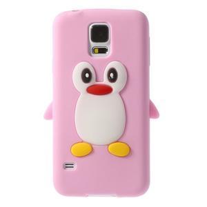 Penguin silikonový obal na Samsung Galaxy S5 - růžový - 1