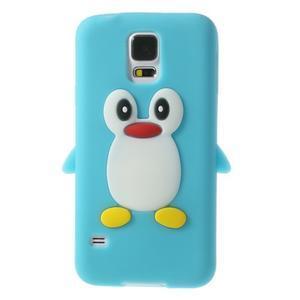 Penguin silikonový obal na Samsung Galaxy S5 - světlemodrý - 1