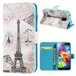 Emotive PU kožené pouzdro na Samsung Galaxy S5 mini - Eiffelova věž - 1/7