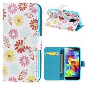 Emotive PU kožené pouzdro na Samsung Galaxy S5 mini - barevné květiny - 1