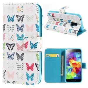 Emotive PU kožené pouzdro na Samsung Galaxy S5 mini - motýlci - 1