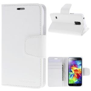 Sonata PU kožené pouzdro na Samsung Galaxy S5 mini - bílé - 1