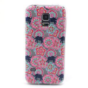 Transparentní gelový obal na mobil Samsung Galaxy S5 mini - květiny a sloni - 1