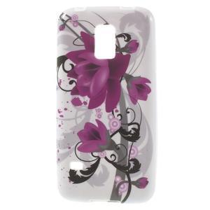 Softy gelový obal na Samsung Galaxy S5 mini - fialové květy - 1