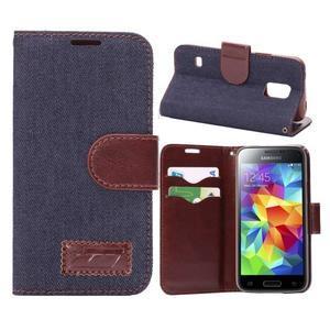 Jeans peněženkové pouzdro na Samsung Galaxy S5 mini - černomodré - 1