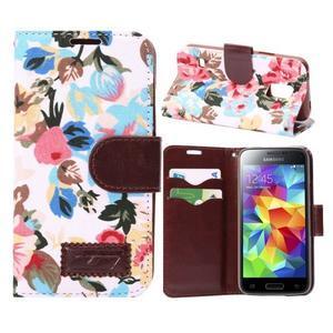 Květinové pouzdro na mobil Samsung Galaxy S5 mini - bílé pozadí - 1