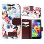 Květinové pouzdro na mobil Samsung Galaxy S5 mini - bílé pozadí - 1/5