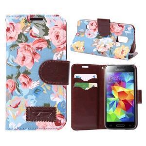 Květinové pouzdro na mobil Samsung Galaxy S5 mini - modré pozadí - 1