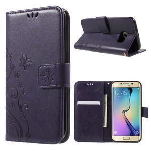 Butterfly PU kožené pouzdro na mobil Samsung Galaxy S6 Edge - fialové - 1