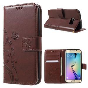 Butterfly PU kožené pouzdro na mobil Samsung Galaxy S6 Edge - hnědé - 1