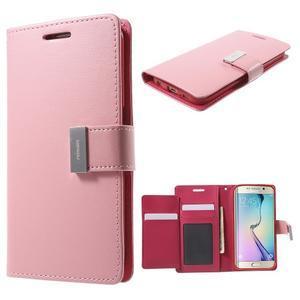 Richdiary PU kožené pouzdro na mobil Samsung Galaxy S6 Edge - růžové - 1