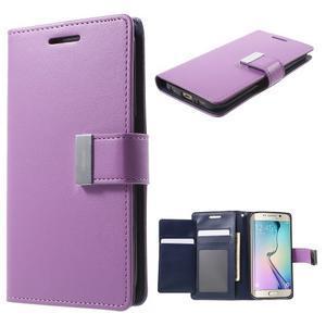 Richdiary PU kožené pouzdro na mobil Samsung Galaxy S6 Edge - fialové - 1