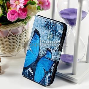Peněženkové pouzdro na Sony Xperia E4g - modrý motýl - 1