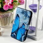 Peněženkové pouzdro na Sony Xperia E4g - modrý motýl - 1/7
