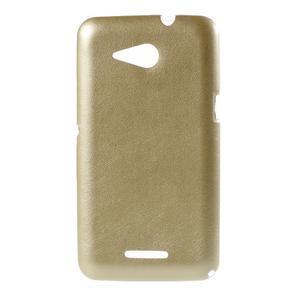 Gelový obal na Sony Xperia E4g s koženkovými zády - zlatý - 1