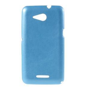 Gelový obal na Sony Xperia E4g s koženkovými zády - modrý - 1