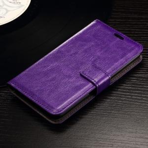 Horse PU kožené pouzdro na mobil Sony Xperia E4g - fialové - 1
