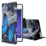 Standy peněženkové pouzdro Sony Xperia M2 Aqua - modrý motýl - 1/6
