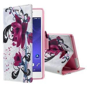 Standy peněženkové pouzdro Sony Xperia M2 Aqua - fialové květy - 1