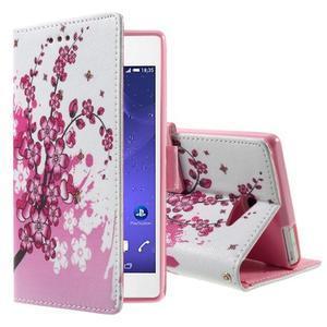 Standy peněženkové pouzdro Sony Xperia M2 Aqua - kvetoucí větvička - 1