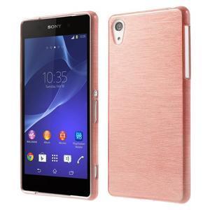 Broušený gelový obal na Sony Xperia Z2 - růžový - 1