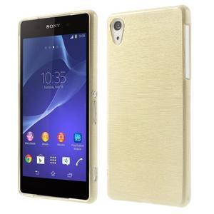 Broušený gelový obal na Sony Xperia Z2 - zlatý - 1