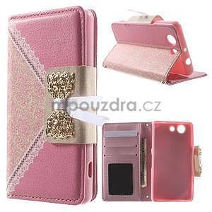 Zapinací pouzdro s mašličkou na Sony Xperia Z3 Compact - růžové - 1