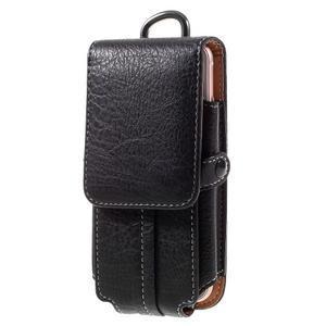 Cestovní PU kožené peněženkové pouzdro do rozměru 150 x 73 x 15 mm - černé - 1
