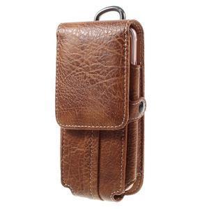 Cestovní PU kožené peněženkové pouzdro do rozměru 150 x 73 x 15 mm - hnědé - 1