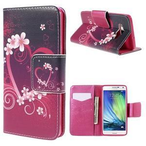 Emotive PU kožené pouzdro na mobil Samsung Galaxy A5 - srdce - 1