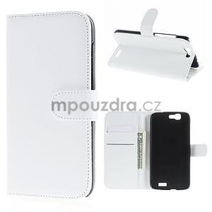 PU kožené peněženkové pouzdro na Huawei Ascend G7 - bílé - 1