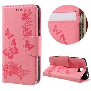 Butterfly PU kožené pouzdro na mobil Huawei Y5 II - růžové - 1
