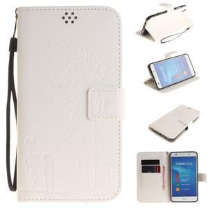 Dandelion PU kožené pouzdro na Huawei Y6 II a Honor 5A - bílé - 1