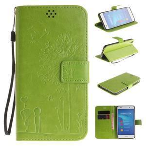 Dandelion PU kožené pouzdro na Huawei Y6 II a Honor 5A - zelené - 1