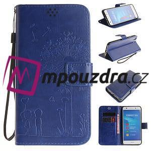 Dandelion PU kožené pouzdro na Huawei Y6 II a Honor 5A - modré ... f72aa420591