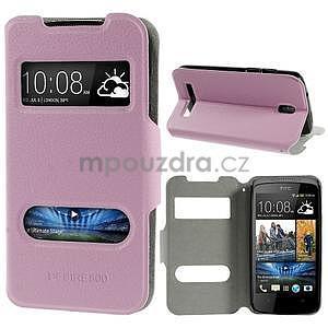 Flipové PU kožené pouzdro na HTC Desire 500 - růžové - 1