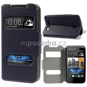 Flipové PU kožené pouzdro na HTC Desire 500 - tmavě fialové - 1