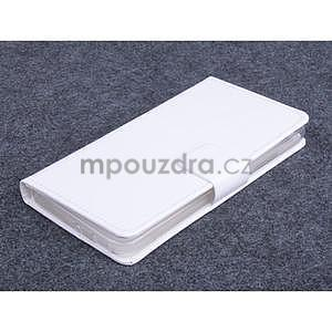 Bílé PU kožené peněženkové pouzdro na Huawei Ascend G620s - 1