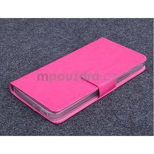 Růžové PU kožené peněženkové pouzdro na Huawei Ascend G620s - 1
