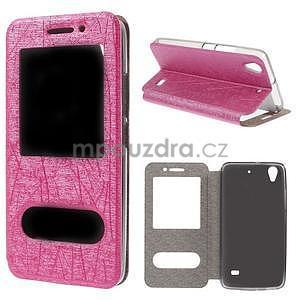 Pouzdro s okýnky na Huawei Ascend G620s - růžové - 1