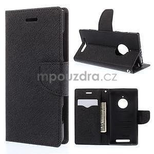PU kožené peněženkové pouzdro na Nokia Lumia 830 - černé - 1