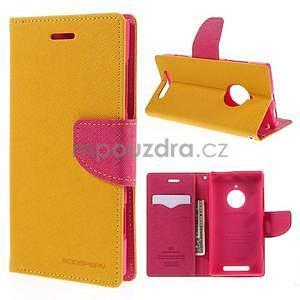 PU kožené peněženkové pouzdro na Nokia Lumia 830 - žluté - 1
