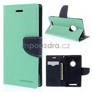 PU kožené peněženkové pouzdro na Nokia Lumia 830 - azurové - 1