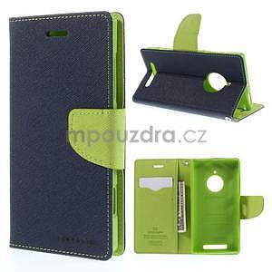 PU kožené peněženkové pouzdro na Nokia Lumia 830 - tmavě modré - 1