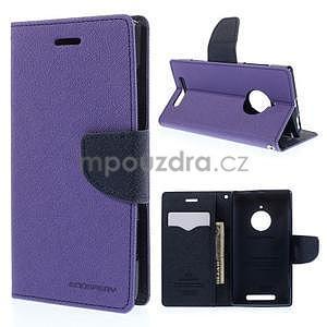PU kožené peněženkové pouzdro na Nokia Lumia 830 - fialové - 1