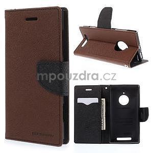 PU kožené peněženkové pouzdro na Nokia Lumia 830 - hnědé/černé - 1