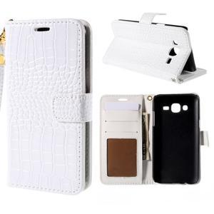 PU kožené pouzdro s imitací krokodýlí kůže Samsung Galaxy J5 - bílé - 1